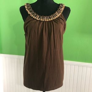Talbots wood beaded collar, sleeveless top- Large